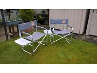 2 DECK CHAIRS WITH POP UP SIDE TABLE