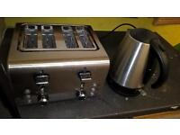 Silver toaster 4 slice (tescos ) and Silver russell hobbs kettle