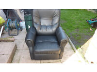 Black Leather Recliner Chair - two available