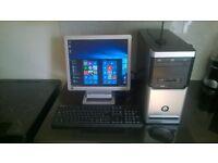 custom built windows 10 amd dual core gaming pc + monitor speakers wireless mouse usb keyboard wifi