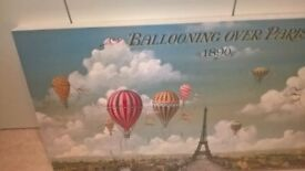 BALLOONING OVER PARIS 1890 STRETCHED CANVAS PRINT 120cm X 60cm X5cm GLUSBURN BD20 8DW nr DOG and GUN
