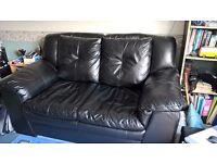Black leather 2 seater sofa VGC £100