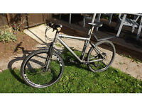 Black Giant men's Terrago mountain hybrid bike suspension and disc brakes 19""