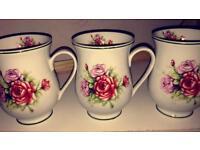 3 Fine china mugs