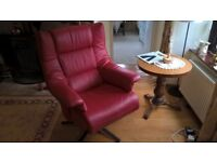 Himola Opus red leather swivel recliner armchair