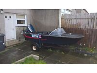 boat, trailer, and 55hp yamaha engine for sale