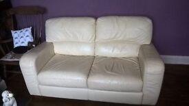Italian Cream Leather Sofa For Sale £65ono