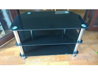Free to collect. Scratch free Black Glass TV/Media Unit 3 shelf