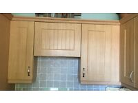 Range of beech effect wall & base Kitchen units