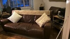 Beautiful brown leather 3 seater sofa,plus bucket chair