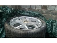 5 x QS Predator Racing Alloys 235/40/17 and tyres. good quality includes locking nuts , 4 stud