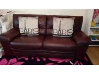 3 and 2 seater brown leather sofas very good condition