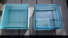 6 blue glass bricks 3 clear 3 frosted.