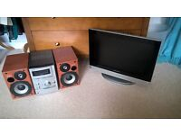 """WARFDALE SILVER 19"""" HD LCD TV AND SONY S-MASTER STEREO"""