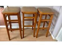 3 x retro style wooden bar stools