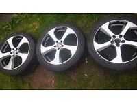 Vw style alloys 17 inch x3 wheels 5x112 golf seat vw alloys