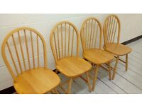 set of 4 wooden wheelback dining chairs including free cushions (if required)