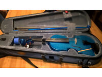 Half size metallic blue violin