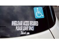 Wheelchair access stickers for Disabled.