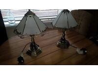 2 x Bedside / Table Lamp - Glass