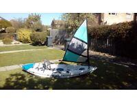 Galaxy Cruz WHITE kayak +Falcon grey/green Sail~FULLY RIGGED
