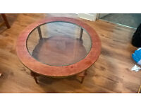 Lovely retro vintage wood / glass coffee table