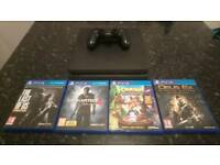 PS4 Playstation 4 slim + 4 Games like new fw 4.73