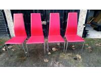 4 CHROME AND RED FAUX LEATHER DINING CHAIRS GOOD CONDITION FREE LOCAL DELIVERY (ST HELENS)