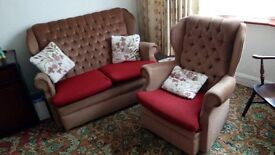 Beige settee and chair for sale.