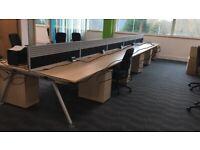 LARGE OFFICE CLEARANCE- 60 -SENATOR CORE WKSTATIONS -PEDESTALS -VGC ( READ AD PLS )