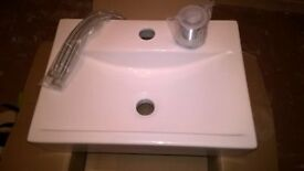 White Porcelain Vanity Unit Basin+ waste and flexible pipes