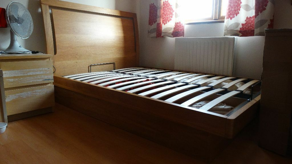 Isabella Oak Ottoman Wooden Double BED FRAME