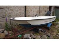 Orkney Dory 424 with 40 hp Mercury outboard and trailer. Engine needs repair (reverse only).