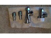 Angled chrome radiator valve set - Brand New £5 - collection only MK4