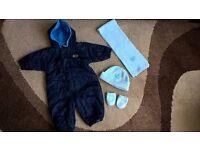 Nike blue baby boy Snowsuit and light blue hat/scarf/gloves set size 6-9 months :) Autumn/Winter