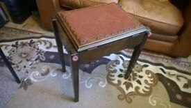 Lovely Dark Elm Antique - Piano Stool with under seat Storage Lock-Hinge