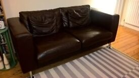 Leather sofa and armchair chocolate brown