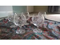 Five Polish crystal brandy glasses. They have a lovely pattern cut into the glass.