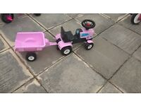 pink toddler tractor and trailer