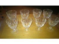 8 x Lead Crystal Wine Glasses (4 small and 4 medium)
