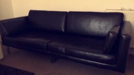 Brown IKEA Faux Leather 3 Seater Sofa