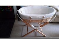 Moses basket with stand and 3 mattresses