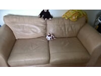High quality 3-large-bum leather sofa - beige