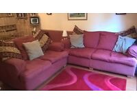 Comfy 3 + 2 red sofa suite or sold separately, featuring coordinating cushion set