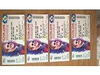 4 X ELTON JOHN SELECT STADIUM WIDNES CONCERT TICKETS. SEATED IN WEST STAND, BLOCK C, ROW 22.