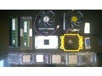 job lot 2x intel dual core cpu 2.7ghz 2x amd 64 x2 2.2ghz + 2x coolers + 1x bracket + 2gb ddr2