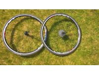 Shimano R500 racing wheelset complete with Rear cassette, Vittoria tyres, inner tubes and skewers