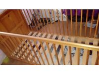 Pine cot bed in excellent condition no mattress only used at grandparents