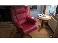 Himola red leather swivel recliner armchair