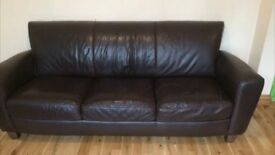 Barker & Stonehouse brown leather 3/4 seater sofa